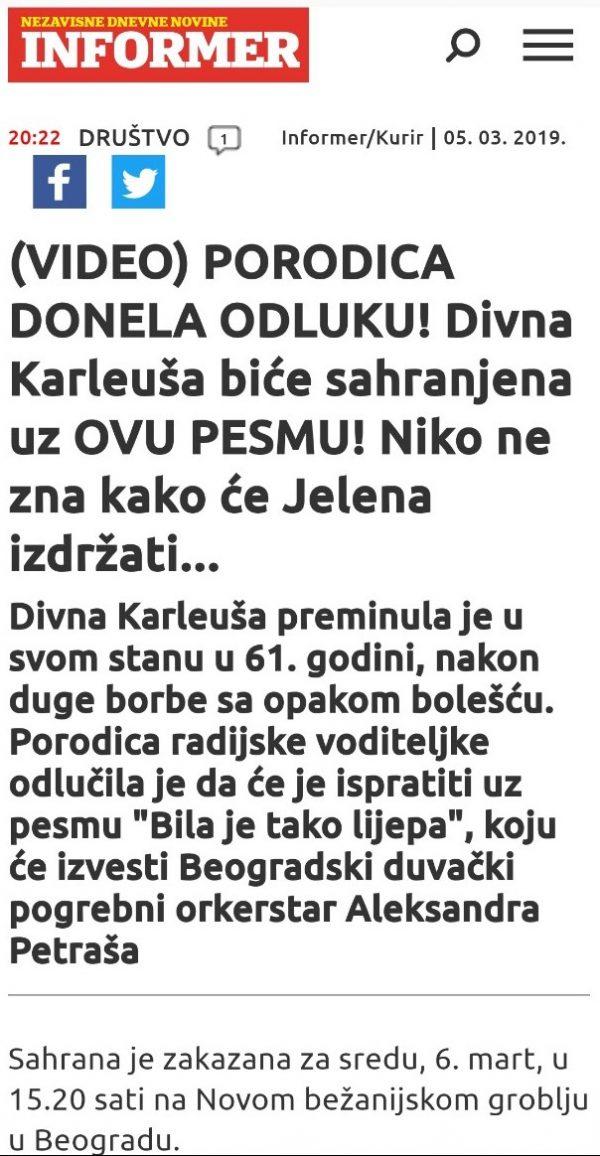 Beogradski duvački pogrebni orkestar Sahrana Karleuša 06.03.2019.